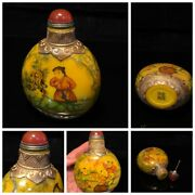 Top Vintage Chinese Snuff Bottle Glass China Glaze Antique Carved Collectibles