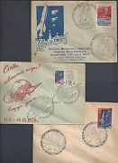 Russia 1959 Three Space Exploration Illustrated Covers One With Lenin Stamp
