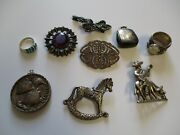 Vintage Jewelry Lot Sterling Silver Necklace Pendant Abstract Signed Brooch Pins