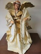 Angel Crepe Paper Gold And Ivory Tones Christmas Tree Topper 16