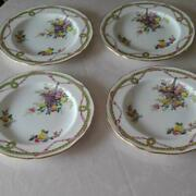 Antique Spode Stafford Flowers Rose Plate Set Of 4 Hand Painted Basket Ribbon
