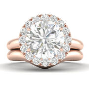 0.95ct D-si1 Diamond Single Halo Engagement Ring 14k Rose Gold Any Size