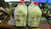 Milkmanand039s Carrier And 4 Pyro Rect Half Gallon Milk Bottles Illinois And Michigan