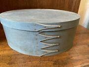 Lt Blue Wood Painted Oval Wood Band Pantry Boxe Shaker Style By Burnham Maine