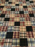 Vintage Nautica Plaid Patchwork Quilt Blanket 86 X 84 Queen And 2 Pillow Shams