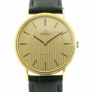 Secondhand Omega K18yg Wristwatch De Vill Gold Black Mens Fashionable Itand039s Cool.