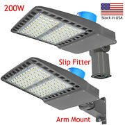 200w Led Shoebox Area Lights With Dusk To Dawn Photocell - 5500k 400w Equivalent