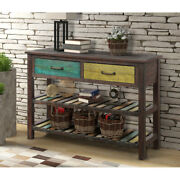 Retro Console Table With 2 Drawers And Shelf For Entryway Living Room Furniture