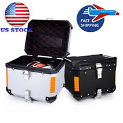 45l Aluminum Motorcycle Tail Box Luggage Trunk Top Case For Motorbike Usa Stock