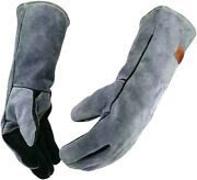 16 Inches Leather Forge Welding Gloves With Kevlar Stitching Heat/fire Resistant