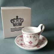 Royal Copenhagen Burgundy Half Race Cup And Saucer With Box High Handle Antique