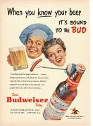 Vintage 1953 Budweiser Beer Barbecue Cookout Print Ad St. Louis Mo