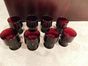 8 Vintage 60s Anchor Hocking Royal Ruby Red Glass Georgian 4.25 Tumblers Ex Con
