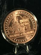 5 Oz. Home Of The Free  Copper Round Coin Capsule Stand Display Complete