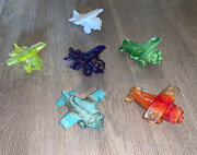 Rare Lot Of 6 Boyd Glass Airplane Plane Jet Aviation Paperweight Vaseline Fund