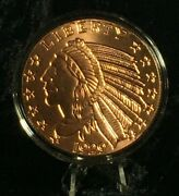 5 Oz. 1929 Incuse Indian Copper Round Coin Capsule Stand Display Complete