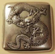 Chinese Dragon Cigarette Case Vintage Silver Marked Repousse 4.1 Oz. Rare Export