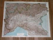 1930 Original Vintage Map Of Northern Italy Venice Milan Turin Lombardy