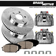 Front Oe Calipers +d/s Brake Rotors +ceramic Pads For 1999 - 2002 Ford E-350