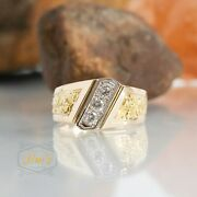 24k Pure Gold Nugget Inlay - 3 Stone Mens Diamond Ring 14k Gold Size 8.5