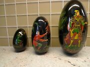 Russian Vintage Circa1989 Palekh Lacquered Hand Painted 3 Nesting Egg Signed П Т