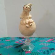 Nicol Sayre 2005 Snowwoman Setting On Snowball With Candle Stick Base