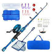 Lanaak Fishing Pole Rod And Reel Starter Kit With Tackle Box For Boys Girls Blue