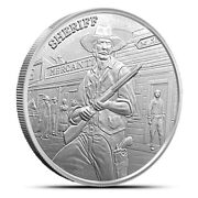 1 Oz Silver Prospector Series Sheriff Round With Capsule And Western Style Pouch
