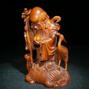 Chinese Old Wooden Statue Carvings Decor Sculpture Boxwood Wood Buddha Dharma-2