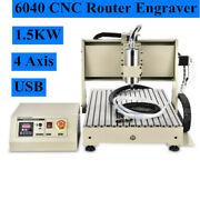 Usb Vfd 4axis Cnc 6040 Router Engraver Milling Drill Machine 3d Cutter Kit 1500w