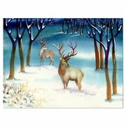 Amazing Winter Forest With Deer - Landscape Glossy Metal Multi 40 In. Wide X 30