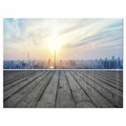 Buildings With Empty Wooden Board - Landscape Glossy Metal