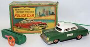 Vintage 50and039s Tin Bat Op Remote Controlled Police Car By Sanyo Japan