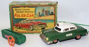 Vintage 50's Tin Bat Op Remote Controlled Police Car By Sanyo Japan