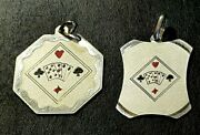 Sterling Silver Card Games For Adults Vintage Italian Fobs Medallions