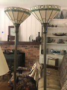 Vintage Stained Glass Lamps Set Of Two