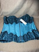 Daisy Corsets Top Drawer Teal And Black Lace Plus Size 4xl New With Tags