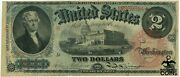 Series Of 1869 2 Thomas Jefferson Red Seal Rainbow Note Legal Tender
