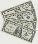 Lot Of 4 - Consecutive Serial Number 1957 1 Silver Certificates