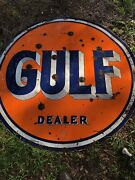 Rare Original Large Double-sided 5andrdquo Gulf Dealer Gas Station Porcelain Sign
