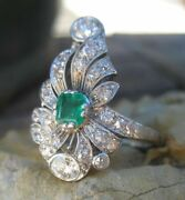 Antique Victorian Edwardian Floral Motif Ring 1.48ct Emerald 925 Sterling Silver