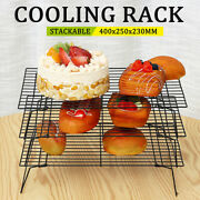 3 Tier Steel Wire Stackable Non-stick Cake Biscuit Cooling Tray Rack Stand Tools