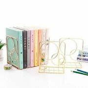 2pcs/lot Round Circle Bookends Support Stand 13x10x20cm Metal Holder Shelf Racks