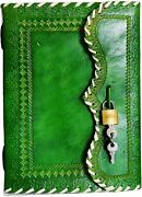 10 Leather Journal With Lock Writing Pad Blank Notebook Handmade Notepad
