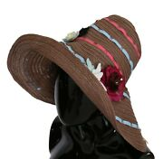 Dolce And Gabbana Hat Brown Floral Wide Brim Straw Floppy Cap S. 58 / M Rrp 2100