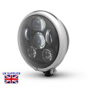 Motorcycle Headlight Black And Chrome For Harley Davidson - 6 Inch Projector Led