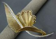 Antique Extra Large .65ct Diamond 18k Yellow Gold And Platinum 3d Brooch Pin 27303