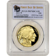 2021 W American Gold Buffalo Proof 1 Oz 50 Pcgs Pr70 Dcam First Day Of Issue