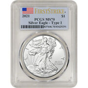 2021 American Silver Eagle - Pcgs Ms70 - First Strike