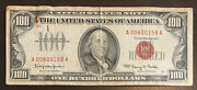 1966 100 Red Seal United States Banknote. Small Tear. Paper Clip Mark.